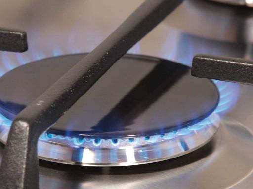 Close up of gas hob.