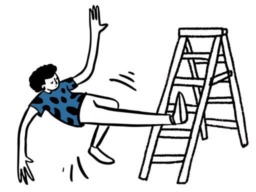 Illustration of a man falling from height.