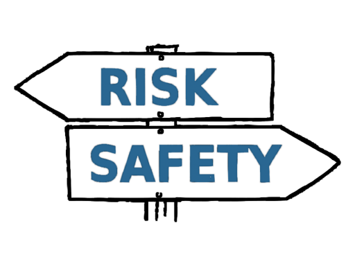 Illustration of sign pointing from risk to safety.