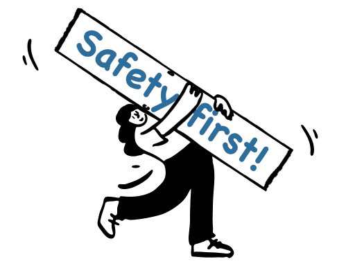 Illustration of lady holding a safety first sign.