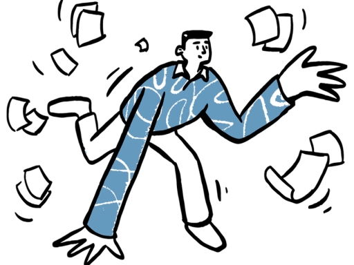 Illustration of a man tripping and dropping papers.