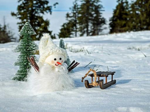 Happy snowman in a snowy field.
