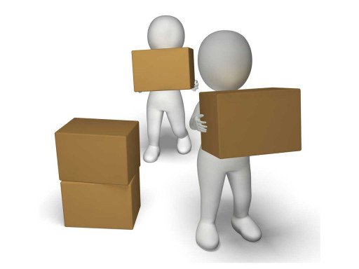 Two characters carrying and stacking boxes.