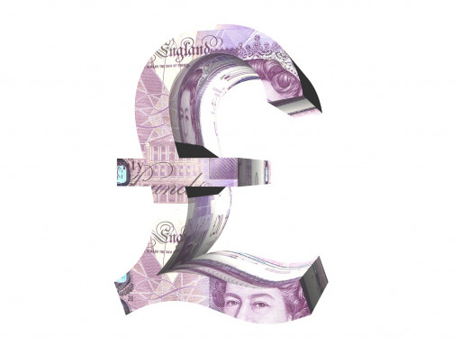 Pound symbol with bank note background.