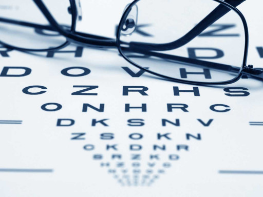 Pair of glasses on top of a jaeger eye chart.
